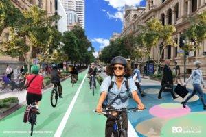 Mockup of George Street pop-up bike lane